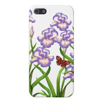 La mariposa en el iris púrpura florece la caja del iPhone 5 carcasas