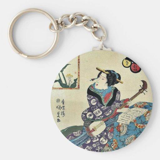 La mariposa en la violación florece por Utagawa, T Llaveros