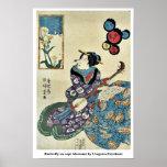 La mariposa en la violación florece por Utagawa, T Posters