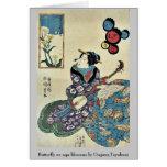 La mariposa en la violación florece por Utagawa, T Tarjetón