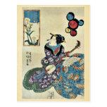 La mariposa en la violación florece por Utagawa, T Tarjeta Postal