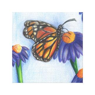 """La mariposa en las flores envolvió la lona (12"""" el impresiones en lienzo estiradas"""