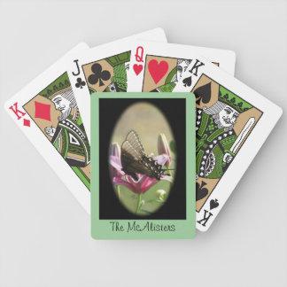 La mariposa en tarjetas que juegan del lirio perso baraja de cartas
