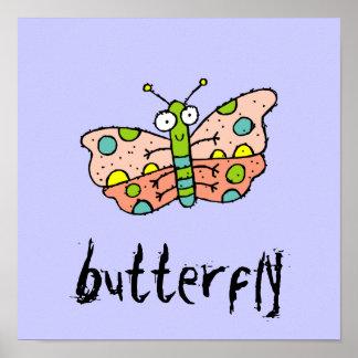La mariposa enrrollada de la granja embroma el pos posters