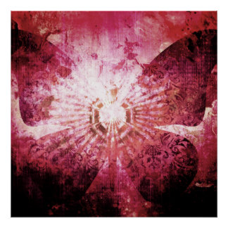 La mariposa femenina rosada bonita se va volando póster