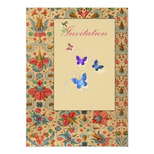 """La mariposa floral invita invitación 5.5"""" x 7.5"""""""