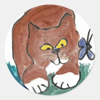 La mariposa GRRRRRR lo envía que revolotea Pegatina Redonda