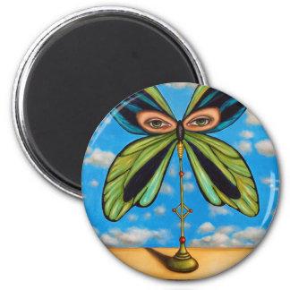 La mariposa más grande imán redondo 5 cm