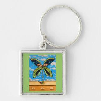 La mariposa más grande llavero cuadrado plateado