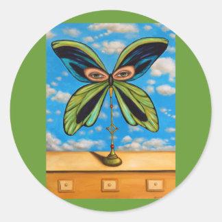 La mariposa más grande pegatina redonda
