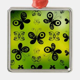 La mariposa negra besa diseño gráfico del ángel adorno navideño cuadrado de metal