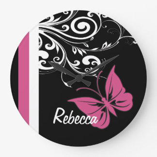 La mariposa personalizada remolina rosa del aránda relojes
