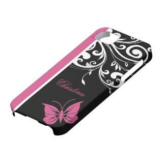 La mariposa personalizada remolina rosa del iPhone 5 Case-Mate fundas