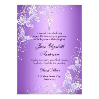 """La mariposa púrpura del remolino y el bautismo de invitación 4.5"""" x 6.25"""""""