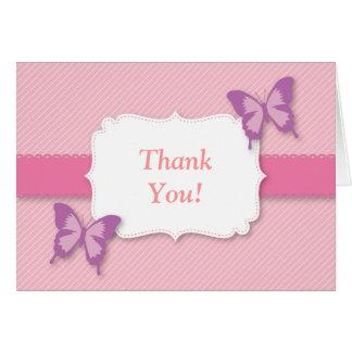La mariposa púrpura elegante le agradece fiesta de tarjeta de felicitación