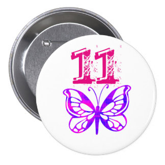 "La mariposa púrpura, pica ""11"" botón para la edad pin redondo de 3 pulgadas"