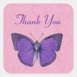 La mariposa púrpura y rosada del vintage le calcomanías cuadradass