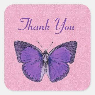 La mariposa púrpura y rosada del vintage le pegatina cuadrada