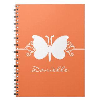 La mariposa remolina cuaderno, naranja note book