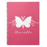 La mariposa remolina cuaderno, rosa