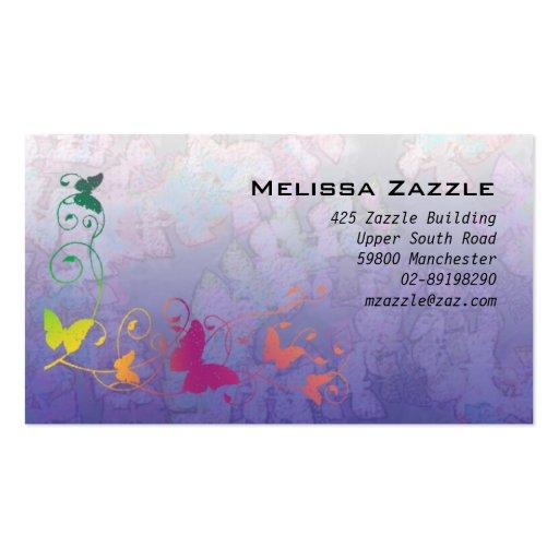 La mariposa remolina púrpura plantilla de tarjeta personal