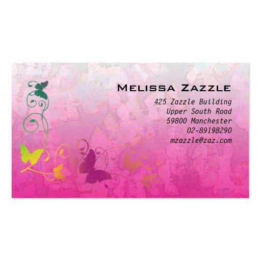 La mariposa remolina rosa tarjeta de visita