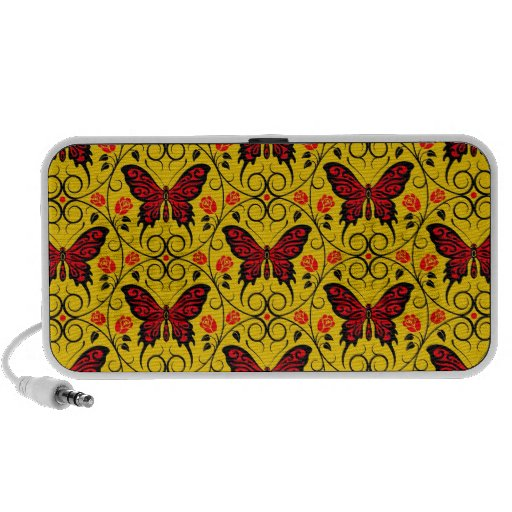 La mariposa roja y amarilla circunda el modelo iPod altavoces