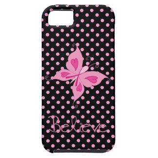 La mariposa rosada de la cinta cree el caso de iPhone 5 fundas