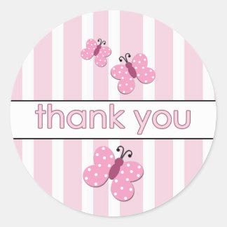 La mariposa rosada le agradece los pegatinas pegatina redonda
