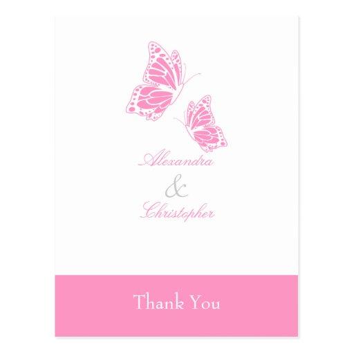 La mariposa rosada simple le agradece postales