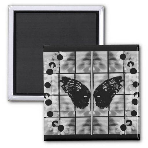 La mariposa se va volando blanco negro de las tari imanes de nevera