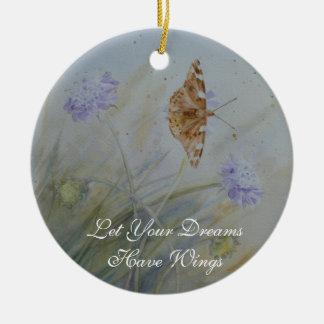 La mariposa soña la placa de cerámica de la pared adorno navideño redondo de cerámica