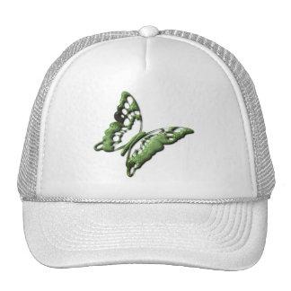 La mariposa verde diseña la gorra de béisbol