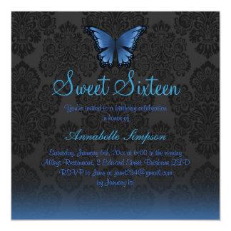 """La mariposa y el damasco azules Sweet16 invitan Invitación 5.25"""" X 5.25"""""""