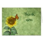 La mariposa y el girasol le agradecen cardar felicitación