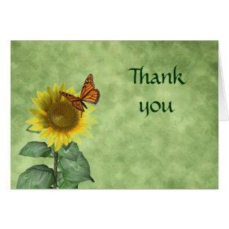 La mariposa y el girasol le agradecen cardar tarjeta pequeña