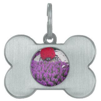 La mariquita de LadyLUCK florece el jardín púrpura Placas De Nombre De Mascota