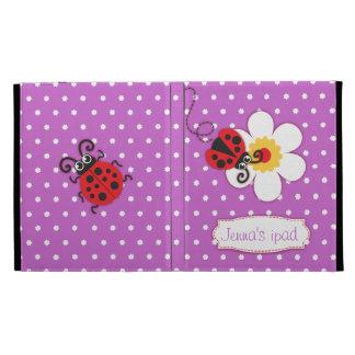 La mariquita embroma la caja roja púrpura nombrada
