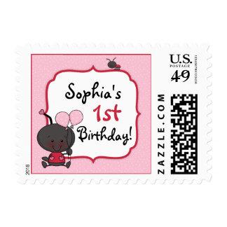 La mariquita hincha a la fiesta de cumpleaños timbres postales