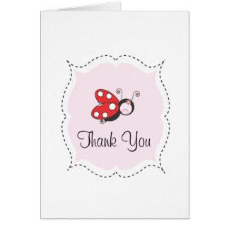 La mariquita le agradece cardar tarjeta pequeña