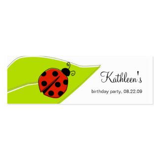 La mariquita le agradece marca con etiqueta tarjetas de visita mini