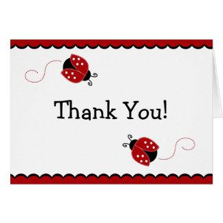 La mariquita negra y roja le agradece tarjeta de