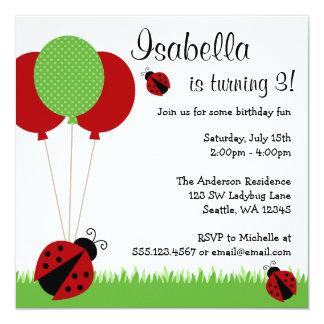 La mariquita roja hincha invitaciones de la fiesta invitación 13,3 cm x 13,3cm