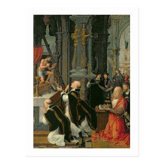 La masa de St Gregory (aceite en lona) Postal