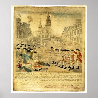 La masacre de Boston de Paul Revere Póster