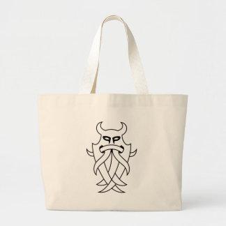 La máscara de Odin tribal (negro resumido) Bolsa Tela Grande