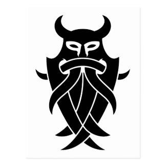 La máscara de Odin tribal (negro) Postales