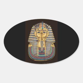 La máscara de oro de Tutankhamon Pegatina Ovalada