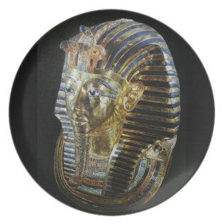 La máscara de oro de Tutankhamun Plato De Comida
