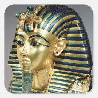 La máscara funeraria del oro, de la tumba de pegatina cuadrada